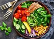 Bunte Bowl mit Hähnchen und Avocado