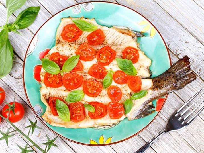 Forelle mit überbackenen Tomaten und Basilikum