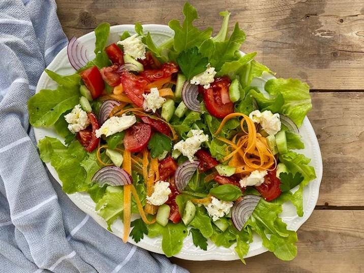 Gartensalat mit Tomaten, Mozzarella und Gurke