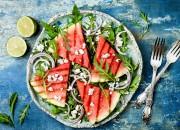Gebratene Melone mit Rucola und Feta