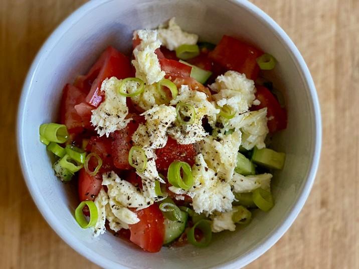Gurken-Tomaten-Salat mit Mozzarella und Lauchzwiebel
