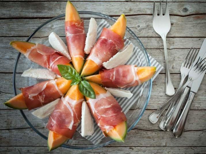 Melone Schinken Mozzarella Platte